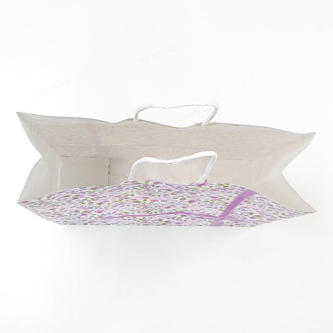 手提げ紙袋 紫花 中 【320×110×H320mm】
